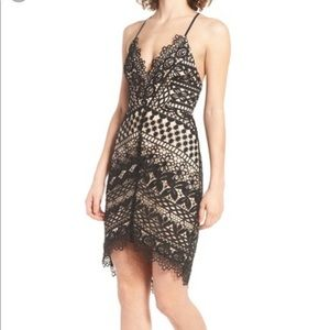 ASTR Lace black and nude  body con dress S